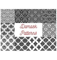 Damask seamless pattern set for wallpaper design vector image