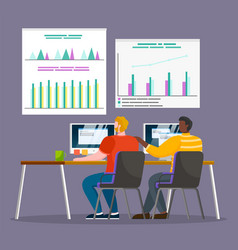 data analysis at work professionals with laptops vector image