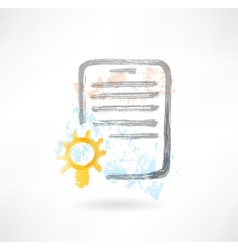 Document with lamp grunge icon vector