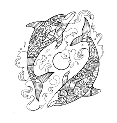 Dolphin coloring book for adults vector image