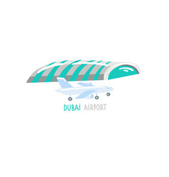 dubai airport - hand drawing icon in flat style vector image