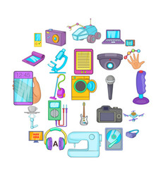 Electronic device icons set cartoon style vector