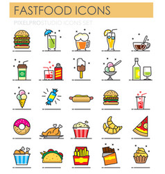 fastfood color outline icons set on white vector image