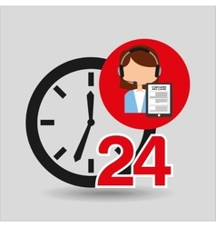 Female call center 24 clock service complaints vector