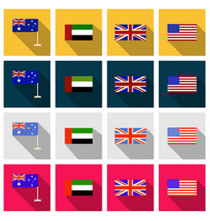 Flat round icons of all world flags ultimate vector