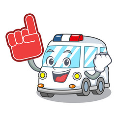foam finger ambulance mascot cartoon style vector image