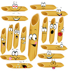 Funny penne pasta cartoon character with many faci vector