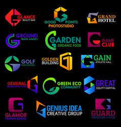 g icons modern geometric corporate identity design vector image