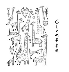 Giraffes collection sketch for your design vector