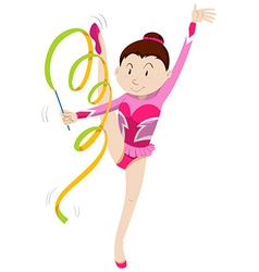 Girl in pink outfit doing gymnastics vector image