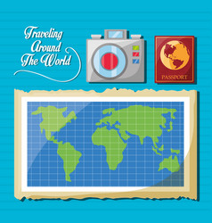 global map with camera and passport vector image