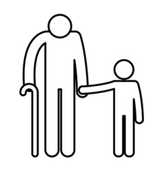 Grandfather with grandson silhouettes avatars vector