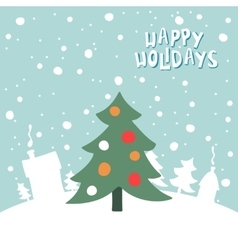 Greeting card with a picture of Christmas tree on vector