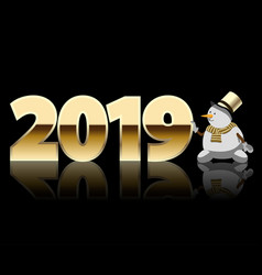 greeting card with date new year and snowman vector image