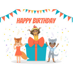 Happy birthday banner festive invitation card vector