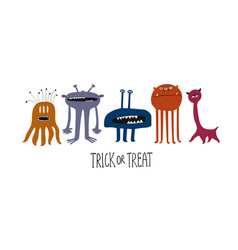 happy halloween greeting card with cute spooky vector image