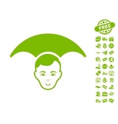 Head Umbrella Icon With Free Bonus vector