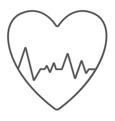 Heartbeat thin line icon ecg and cardiology vector