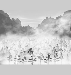 hight detailed realistic pine and fir vector image