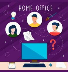 home office concept work team online vector image