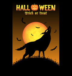 howling wolf with halloween background vector image