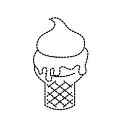 ice cream in waffle cone fresh cream i vector image