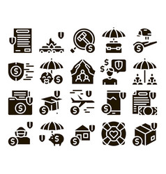 Insurance all-purpose glyph set vector
