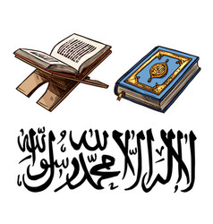 Islam religion symbol with quaran book on stand vector