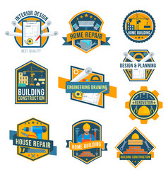 Label icons of house repair work tools vector