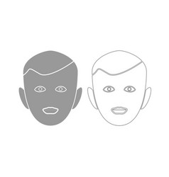 Little boy face grey set icon vector