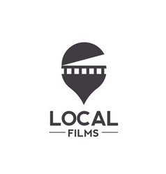 Logo combination of a film and pin locator vector