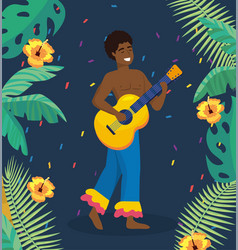 man musician with guitar and branches leaves vector image