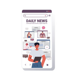 man using tablet pc discussing daily news vector image