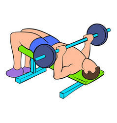 Men training on the bench press icon cartoon vector
