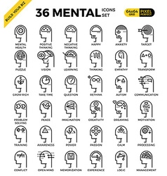 Mental Mind pixel perfect outline icons vector image