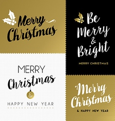 merry christmas and new year gold lettering set vector image