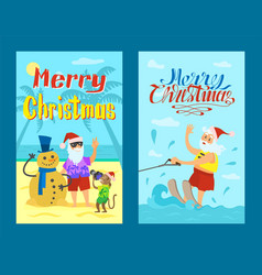 merry christmas santa claus riding on water skies vector image