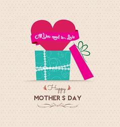 Mothers day greeting card with gift vector
