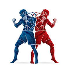 Muay thai thai boxing standing action vector
