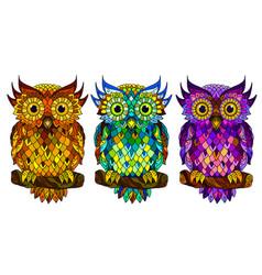 Owl wall sticker set 3 artistic owls vector