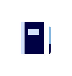 paper note pad and pen - flat blue icon isolated vector image