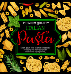 Pasta with greenery as cuisine from italy vector