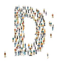 People crowd alphabet ABC letter D vector