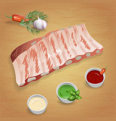 Pork ribs with tasty sauces and spices mustard vector