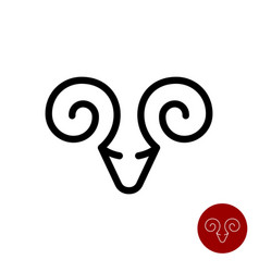 ram simple line stylized icon taurus logo vector image
