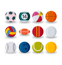 realistic sport balls set isolated on white vector image