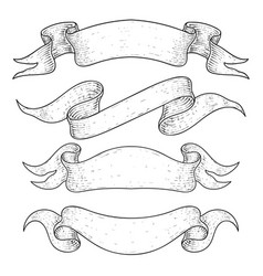 Ribbon banners hand drawn sketch vector