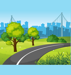 Road in the city park vector
