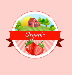 Round label strawberry jam or juice vector