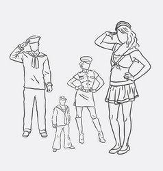 sailor costume hand drawing style vector image